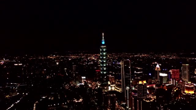 aerial view night time of building  cityscape famous tower in city taipei, taiwan - taipei 101 stock videos & royalty-free footage