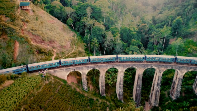 aerial view nine arch bridge in sri lanka - sri lanka stock videos & royalty-free footage