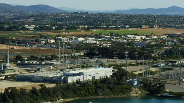aerial view nrg cabrillo power plant carlsbad california - carlsbad california stock videos & royalty-free footage