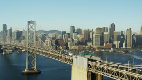 aerial view oakland bay bridge san francisco california - bay of water stock videos & royalty-free footage