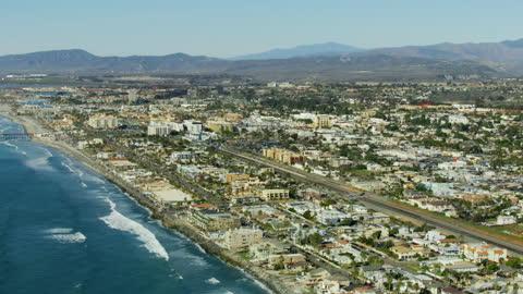 aerial view oceanside beach resort pier california america - harbour stock videos & royalty-free footage