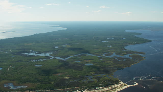 aerial view ochlockonee bay hunting and fishing florida - florida us state stock videos and b-roll footage