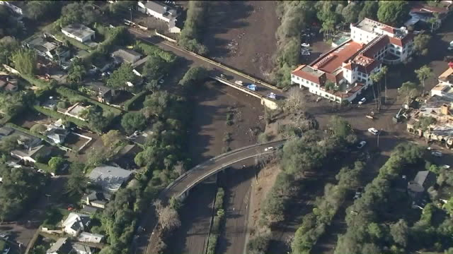 KTLA Aerial View of 101 Freeway in Montecito Area Affected by Mudslides