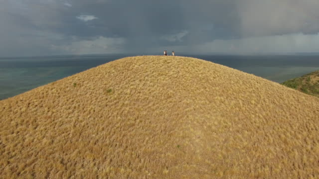 Aerial (drone) view of 4 people on hillside and coastal topography