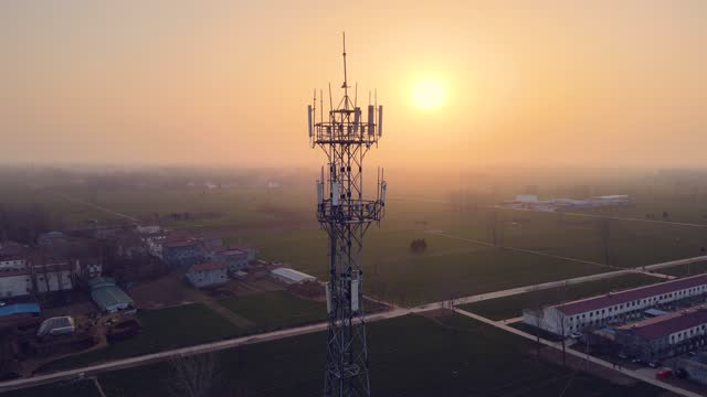 aerial view of 5g communications tower - 5g stock videos & royalty-free footage