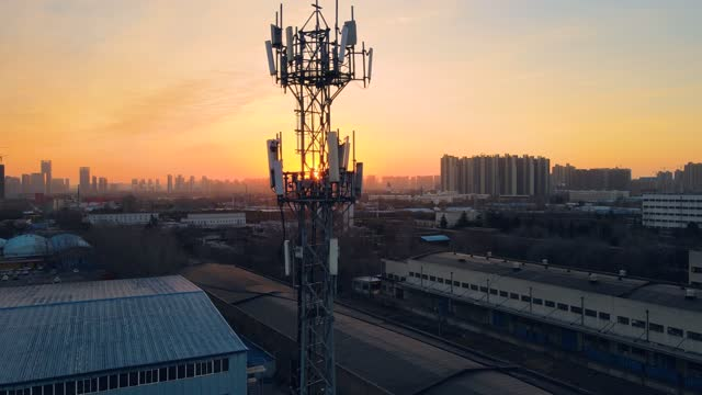 aerial view of 5g telecommunication tower - tower stock videos & royalty-free footage