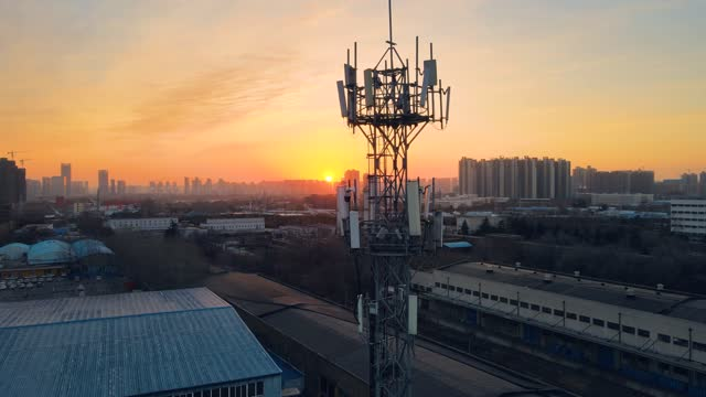 aerial view of 5g telecommunication tower - mast stock videos & royalty-free footage