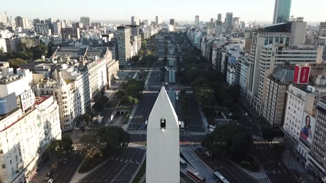 aerial view of 9 de julio avenue during the first day of quarantine on march 20 in buenos aires argentina president alberto fernandez declared a... - social distancing stock videos & royalty-free footage