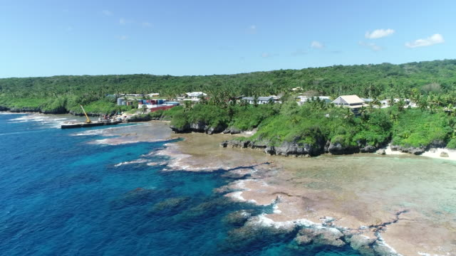 stockvideo's en b-roll-footage met aerial view of a alofi township on niue - samoa