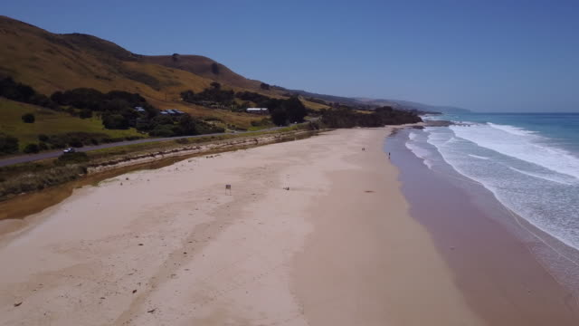 Aerial view of a beach at Apollo Bay, Great Ocean Road, Victoria, Australia