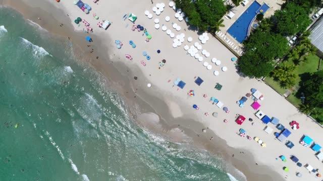 vista aerea di una spiaggia con drone - ombrello video stock e b–roll