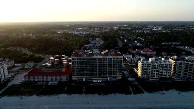 aerial view of a beach front resort north myrtle beach south carolina - myrtle beach stock videos & royalty-free footage
