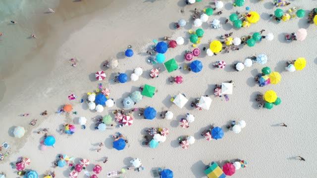 vídeos de stock e filmes b-roll de aerial view of a beach in brazil - chapéu de sol