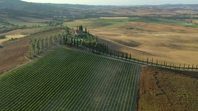 veduta aerea di un bellissimo paesaggio in toscana, italia - strada di campagna video stock e b–roll