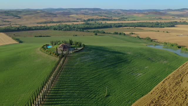 aerial view of a beautiful landscape in tuscany, italy - tuscany stock videos & royalty-free footage