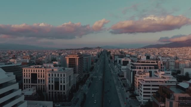 Aerial view of a big avenue in Athens, Greece