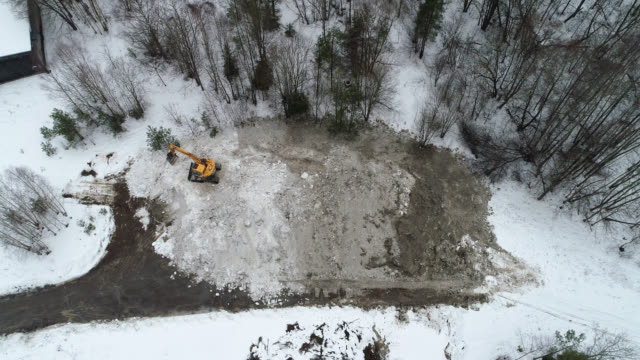 aerial view of a big pile of snow - construction machinery stock videos & royalty-free footage