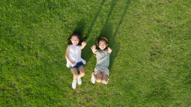 aerial view of a boy and a girl lying on lawn shaking their hands toward the sky in summer at seoulforest (the third largest park in seoul city) - prato rasato video stock e b–roll