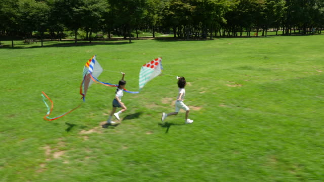 aerial view of a boy and a girl running with kites in summer at seoulforest (the third largest park in seoul city) - kid with kite stock videos & royalty-free footage