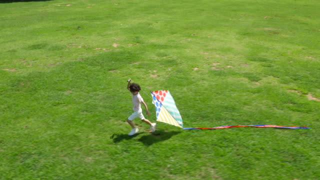 aerial view of a boy running with kites in summer at seoulforest (the third largest park in seoul city) - kite toy stock videos and b-roll footage