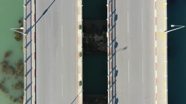 aerial view of a bridge - strada vuota video stock e b–roll