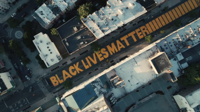 aerial view of a brooklyn street mural - paintings stock videos & royalty-free footage