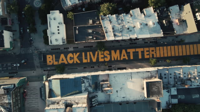 aerial view of a brooklyn street mural - organisation stock videos & royalty-free footage