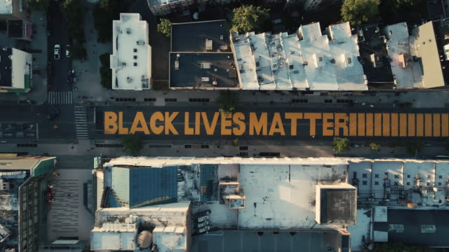 aerial view of a brooklyn street mural - anti racism stock videos & royalty-free footage