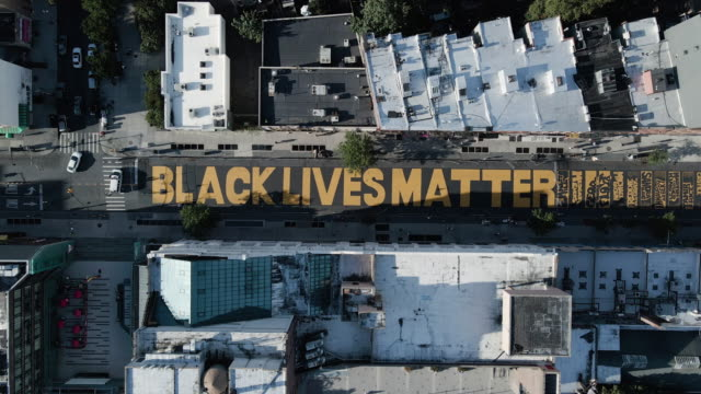 aerial view of a brooklyn street mural - social justice concept stock videos & royalty-free footage