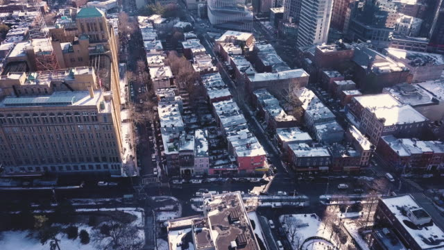 aerial view of a brooklyn winter - winter stock videos & royalty-free footage