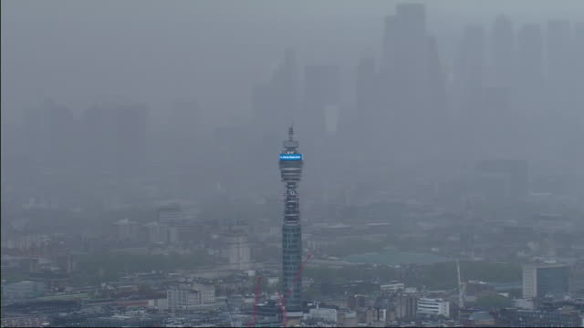 aerial view of a bt tower during the coronavirus epidemic on 1st may 2020 in london united kingdom - bt tower london stock videos & royalty-free footage