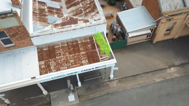 Aerial view of a butcher shop in a small town