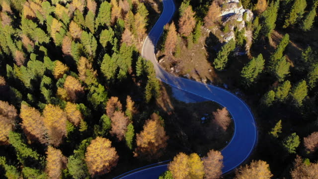 Aerial view of a car driving in the Dolomites mountains with autumn colors.