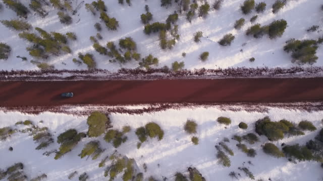 Aerial view of a car traveling down dirt road