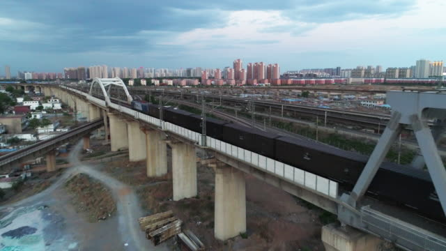aerial view of a cargo train on may 13 2017 in qinhuangdao china one belt and one road summit had held in china recently and the railway... - belt stock videos & royalty-free footage
