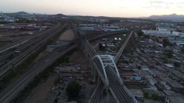 aerial view of a cargo train on may 13, 2017 in qinhuangdao, china. one belt and one road summit had held in china recently and the railway... - 線路のポイント点の映像素材/bロール