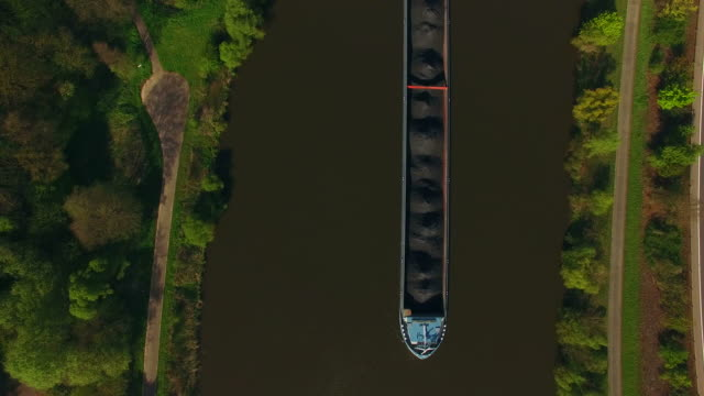 Aerial view of a cargo vessel on Saar River near Serrig, , District Trier-Saarburg, Rhineland-Palatinate, Germany