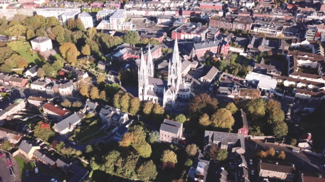 aerial view of a cathedral in cork, ireland. - republic of ireland stock videos & royalty-free footage