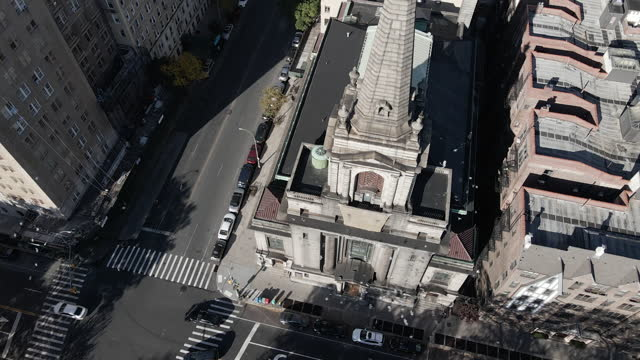 aerial view of a cathedral in new york city - cathedral stock videos & royalty-free footage