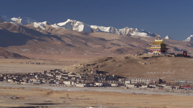 Aerial View of A Chinese Temple And A Village in Tibet
