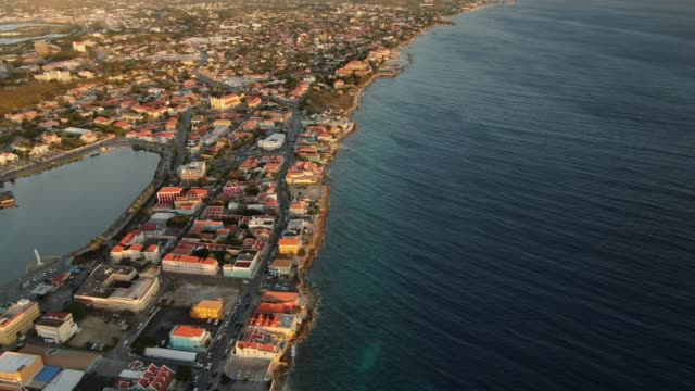 aerial view of a coastal city area of curaçao - west indies stock videos & royalty-free footage
