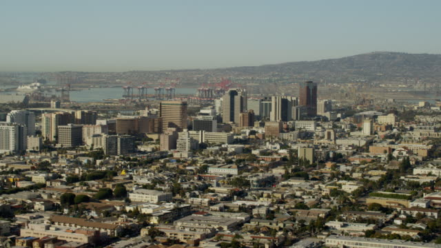 aerial view of a coastal port los angeles - aerial transport building stock videos & royalty-free footage