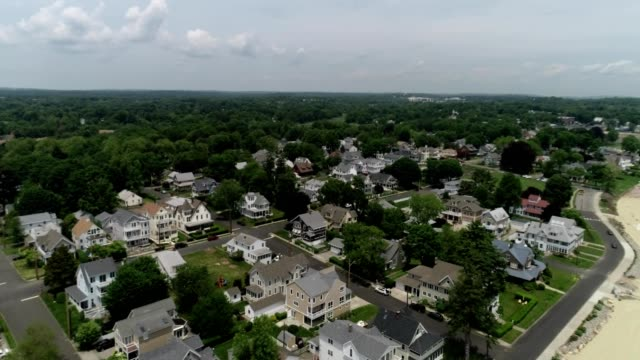 aerial view of a coastal road in milford, connecticut - connecticut stock videos & royalty-free footage