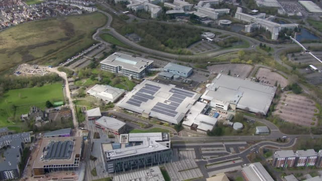 aerial view of a conference centre in bristol which will be converted into a field hospital to help tackle the coronavirus crisis - aerial view stock videos & royalty-free footage