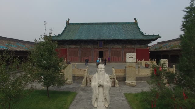 Aerial view of a Confucian temple with statue of Confucius