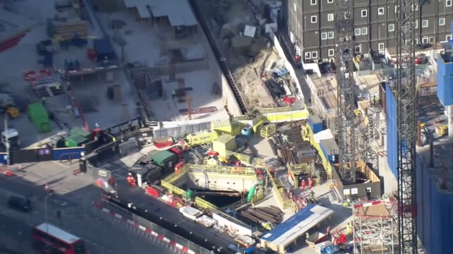 aerial view of a construction site in london - construction site stock videos & royalty-free footage
