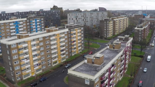 aerial view of a council estate - residential building stock-videos und b-roll-filmmaterial