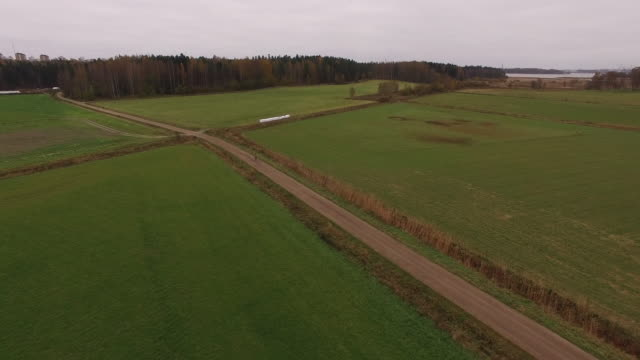Aerial view of a countryside bike ride