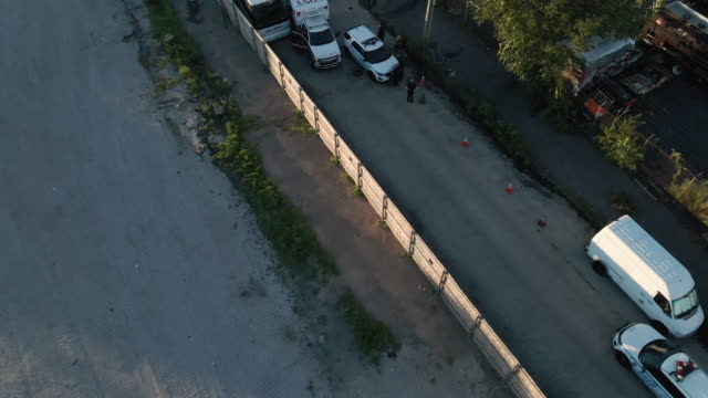 aerial view of a crime scene in brooklyn - ambulance stock videos & royalty-free footage