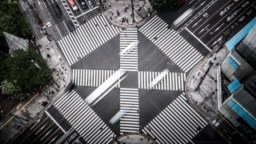 T/L WS HA Aerial View of a Crossing in Ginza / Tokyo, Japan